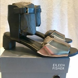 Eileen Fisher Pewter and Black Ankle Cuff Sandals